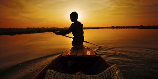 På floden i Cambodja